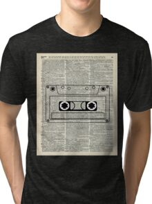 Retro Vintage Music Casette - Dictionary Book Page Art Tri-blend T-Shirt