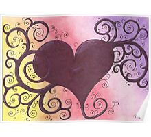 Maroon Heart Drawing Pastel with Prisma Marker Poster