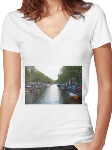 Amsterdam canal Women's Fitted V-Neck T-Shirt