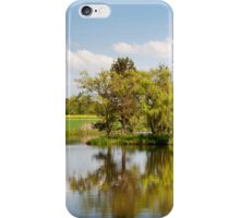 Lake and trees rural landscape iPhone Case/Skin