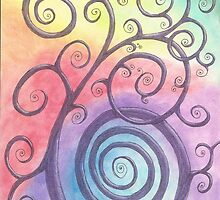 Purple Briar Swirl Drawing Pastel with Prisma Marker by Michelle Clifton