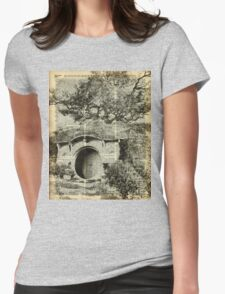 The Bag End Hobbit House over Dictionary Page Womens Fitted T-Shirt