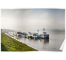 Tourist ferry ships at Vistula River Poster