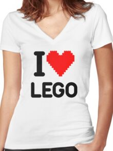 I Love LEGO Women's Fitted V-Neck T-Shirt