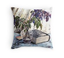 Withered lilac and a book Throw Pillow