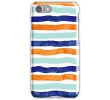 Navy orange sky blue watercolor hand-drawn stripes iPhone Case/Skin