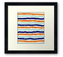 Navy orange sky blue watercolor hand-drawn stripes Framed Print