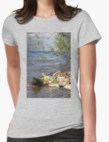 bottles damage river after flood Womens Fitted T-Shirt