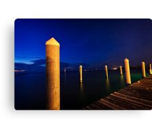 sunset on dock Canvas Print