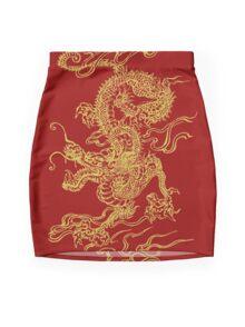 Gold Dragon Mini Skirt