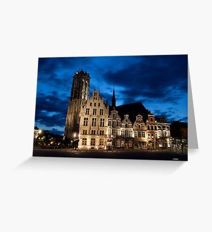 Night european city Greeting Card