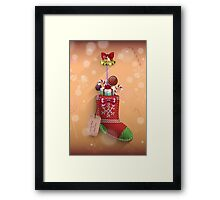 Knit Stocking Christmas Card Framed Print