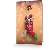 Knit Stocking Christmas Card Greeting Card