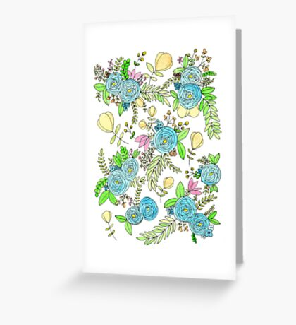 Blue Wild Flowers Greeting Card