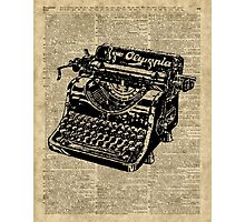 Vintage Typewritter Dictionary Art Photographic Print