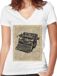 Vintage Typewritter Dictionary Art Women's Fitted V-Neck T-Shirt