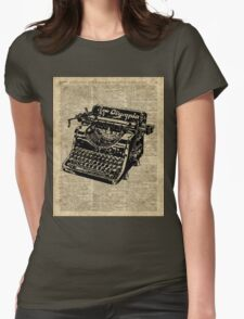 Vintage Typewritter Dictionary Art Womens Fitted T-Shirt