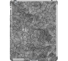 Grey and black swirls doodles iPad Case/Skin