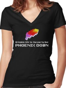 Bringing Life to the Party Like Phoenix Down Women's Fitted V-Neck T-Shirt