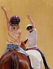 Follow the Leader - Children Taking a Horseback Riding Lesson. by Patricia Barmatz