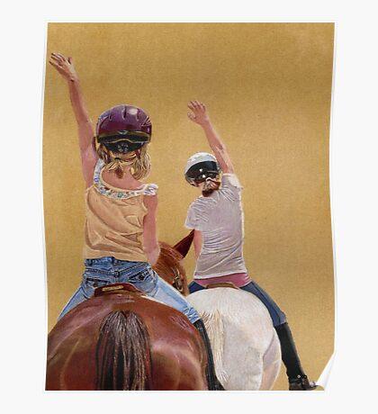 Follow the Leader - Children Taking a Horseback Riding Lesson. Poster