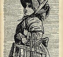 Edwardian girl with basket Vintage Illustration Dictionary Art by DictionaryArt