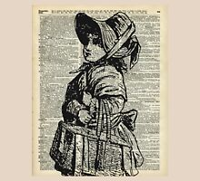 Edwardian girl with basket Vintage Illustration Dictionary Art Womens Fitted T-Shirt