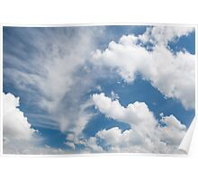 White cirrus and cumulus clouds Poster