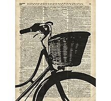 Vintage bicycle Dictionary Art Photographic Print