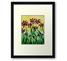 Flowers enjoy the sunny day, watercolor Framed Print