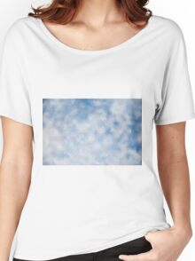 Blue white sparkles bokeh abstract Women's Relaxed Fit T-Shirt