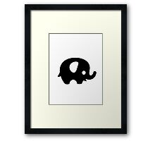 Baby Elephant - black Framed Print