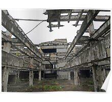 Concrete frame of burntout department store Cebu Philippines Poster