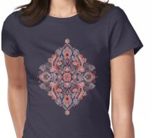 Modern Folk in Coral Red and Indigo Womens Fitted T-Shirt