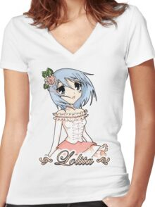 Blue Haired Lolita Women's Fitted V-Neck T-Shirt