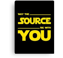 May The Source Be With You - Yellow/Dark Parody Design for Programmers Canvas Print