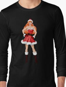 Woman Dressed In Sexy Santa Clothes For Christmas Long Sleeve T-Shirt