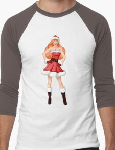Woman Dressed In Sexy Santa Clothes For Christmas Men's Baseball ¾ T-Shirt