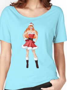 Woman Dressed In Sexy Santa Clothes For Christmas Women's Relaxed Fit T-Shirt