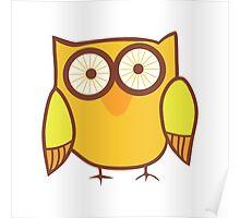 Cute Owl Orange Yellow Poster