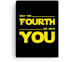 May The Fourth Be With You - Yellow/Dark Parody Design for Geeks Canvas Print
