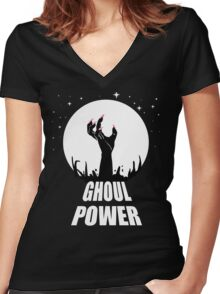 GHOUL POWER Women's Fitted V-Neck T-Shirt