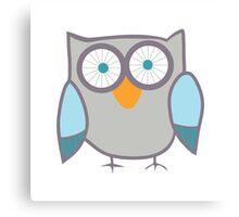 Cute Owl Blue Grey Canvas Print