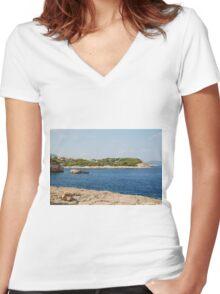 Patitiri coastline, Alonissos Women's Fitted V-Neck T-Shirt