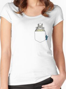 Totoro Pocket, With Little Totoro's Studio Ghibli Women's Fitted Scoop T-Shirt