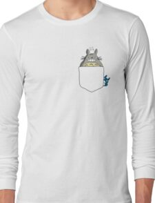 Totoro Pocket, With Little Totoro's Studio Ghibli Long Sleeve T-Shirt