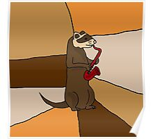 Funny Ferret Playing Red Saxophone Original Art Poster