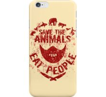 save the animals, eat people (red) iPhone Case/Skin