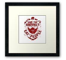 save the animals, eat people (red) Framed Print