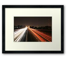 Night Time Travel Light Trails Framed Print